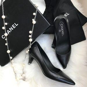 Authentic Chanel Black Leather Kitten Heels